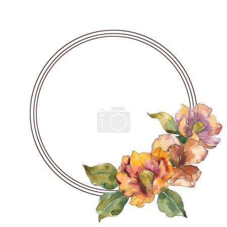 Photo pour Fleurs de camélia orange isolé avec fleurs vertes. Illustration aquarelle ensemble. Bordure cadre rond ornement avec espace copie. - image libre de droit