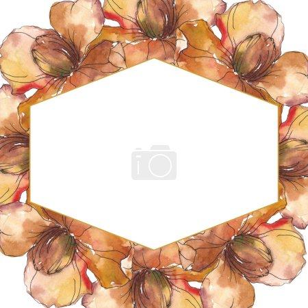 Foto de Flores Camelia naranja aislada con flores verdes. Conjunto de ilustración acuarela. Ornamento de la frontera del marco con espacio de copia. - Imagen libre de derechos