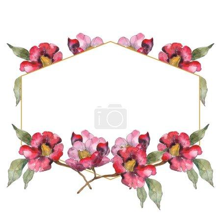 Photo pour Fleurs de camélia rouge isolé avec fleurs vertes. Illustration aquarelle ensemble. Ornement de bordure cadre avec espace copie. - image libre de droit