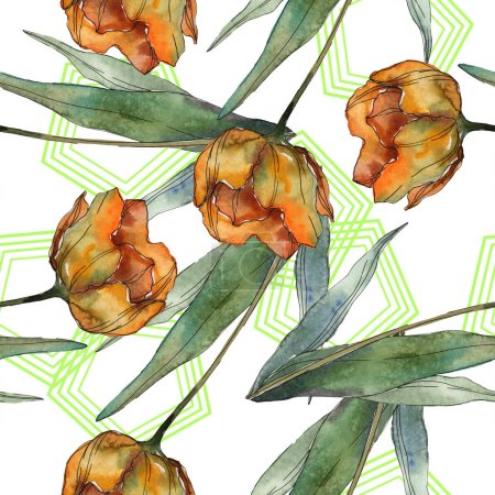 Photo for Orange and red isolated poppies with leaves and lines. Watercolor illustration set. Seamless background pattern. - Royalty Free Image