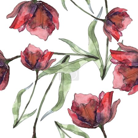Photo for Burgundy and red isolated poppies with leaves. Watercolor illustration set. Seamless background pattern. - Royalty Free Image