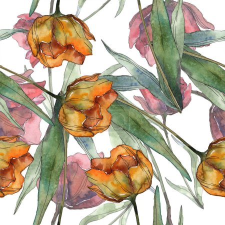Photo for Red and orange isolated poppies with leaves. Watercolor illustration set. Seamless background pattern. - Royalty Free Image