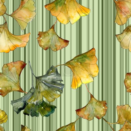 Green ginkgo biloba foliage with lines. Watercolor illustration seamless background pattern.