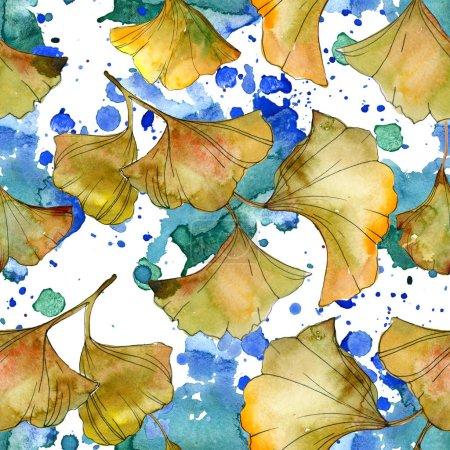 Illustration aquarelle jaune et vert ginkgo biloba foliage. Modèle de fond sans couture .