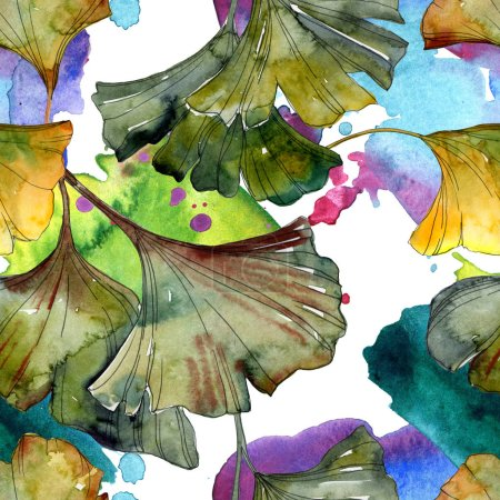 Photo pour Yellow and green ginkgo biloba foliage watercolor illustration. Seamless background pattern. - image libre de droit