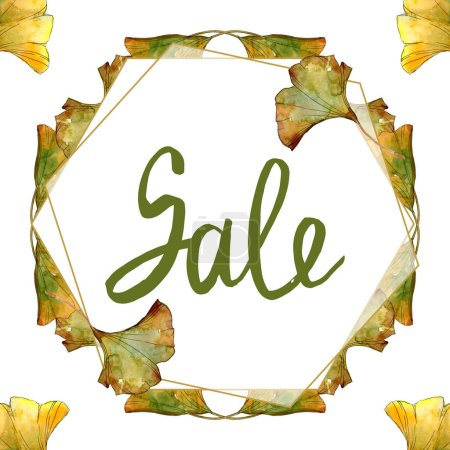 Photo pour Jaune et vert ginkgo biloba foliage aquarelle isolé ensemble d'illustration. Cadre bordure ornement avec vente lettrage . - image libre de droit