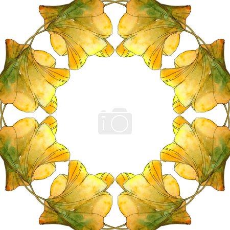 Photo pour Set d'illustration aquarelle jaune ginkgo biloba foliage. Cadre bordure ornement avec espace de copie . - image libre de droit