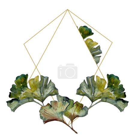 Photo pour Set d'illustration aquarelle à feuillage ginkgo biloba vert. Cadre bordure ornement avec espace de copie . - image libre de droit