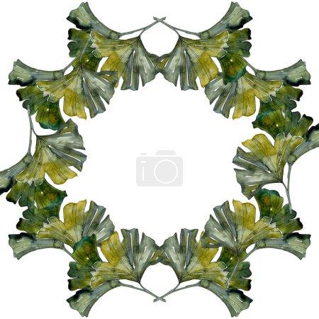 Photo pour Vert ginkgo biloba feuillage aquarelle fond illustration ensemble. Cadre bordure ornement avec espace de copie . - image libre de droit