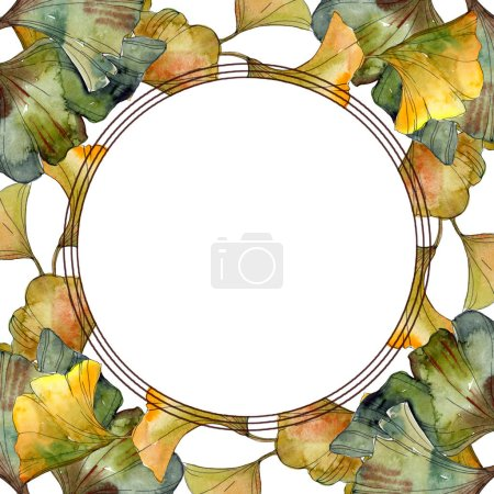 Green and golden ginkgo biloba foliage watercolor illustration set.  Frame border ornament with copy space.