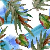 "Постер, картина, фотообои ""Exotic tropical green palm leaves. Watercolor illustration seamless background. """