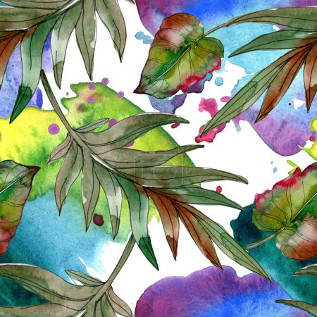 Photo for Exotic tropical green palm leaves. Watercolor illustration seamless background. - Royalty Free Image