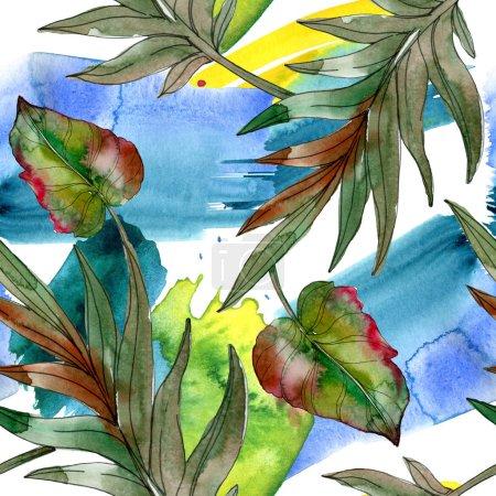 Photo pour Feuilles exotiques de palmier vert tropical. Illustration aquarelle fond sans couture . - image libre de droit