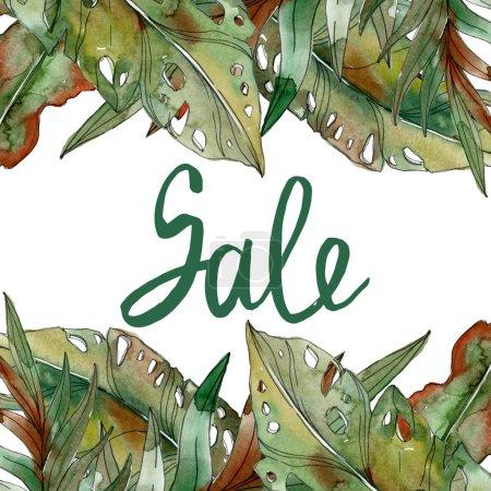 Foto de Hojas de Palma verde tropical exótica ilustración acuarela con inscripción de venta. - Imagen libre de derechos
