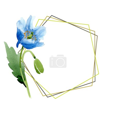 Photo for Blue poppy watercolor illustration with geometric frame. - Royalty Free Image
