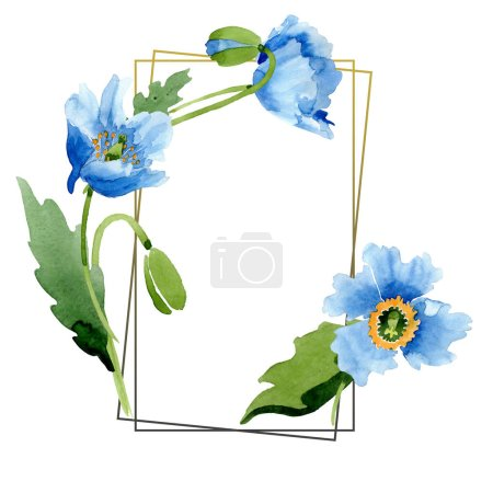 Photo for Blue poppies, leaves and buds with frame isolated on white. Watercolor illustration set. - Royalty Free Image