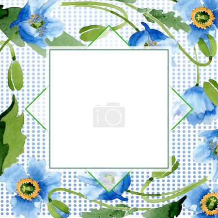 Photo for Blue poppies, leaves, buds and square frame with copy space isolated on white. Watercolor illustration set. - Royalty Free Image
