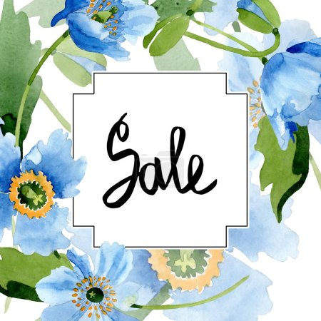 Photo for Blue poppies, leaves and buds with sale lettering in square frame isolated on white. Watercolor illustration set. - Royalty Free Image