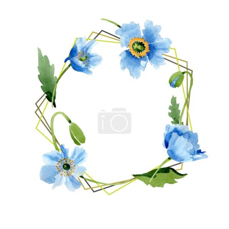 Photo for Blue poppies, leaves and buds frame isolated on white. Watercolor illustration set. - Royalty Free Image