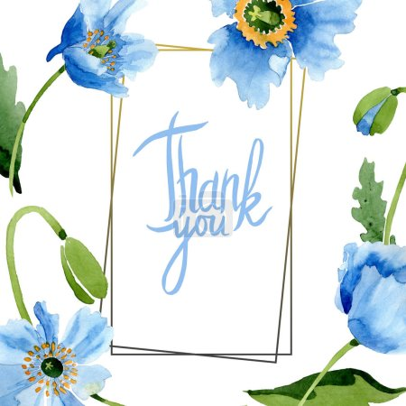 Photo for Blue poppies, leaves and buds with thank you lettering in frame isolated on white. Watercolor illustration set. - Royalty Free Image