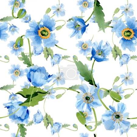 Photo for Blue poppies, leaves and buds seamless background. Watercolor illustration set. - Royalty Free Image