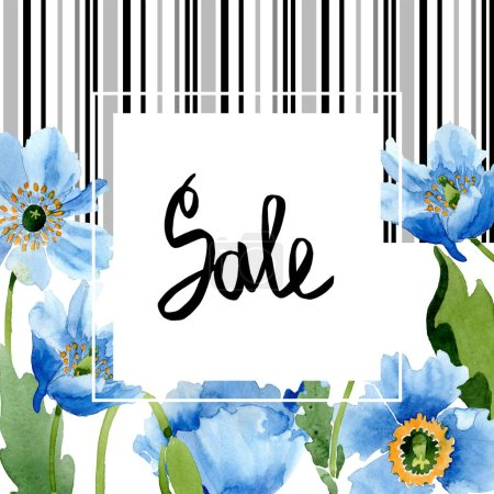Photo pour Blue poppies, leaves and buds with sale lettering in frame isolated on white. Watercolor illustration set. - image libre de droit