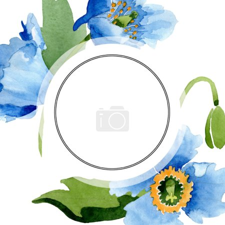 Photo for Blue poppies, leaves and buds near round frame isolated on white. Watercolor illustration set. - Royalty Free Image
