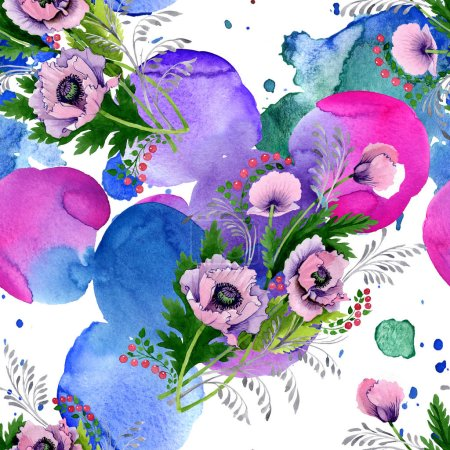 Photo for Pink and purple poppies watercolor illustration set. Seamless background pattern. Fabric wallpaper print texture. - Royalty Free Image