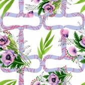 """Постер, картина, фотообои """"Розовые и фиолетовые Маки Акварельные иллюстрации набора. Бесшовный фон узор. Обои для рабочего стола ткань печати текстуры"""""""
