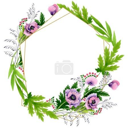 Coquelicots roses et violets isolés sur blanc. Ensemble d'illustration de fond aquarelle. Cadre bordure ornement avec espace de copie .