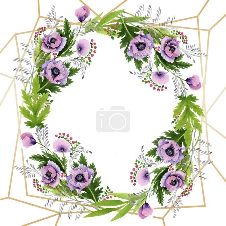 Photo for Pink and purple poppies isolated on white. Watercolor background illustration set. Frame border ornament with copy space. - Royalty Free Image