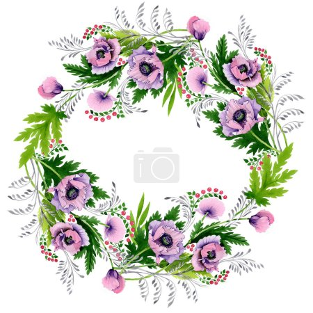 Photo pour Coquelicots roses et violets isolés sur blanc. Ensemble d'illustration de fond aquarelle. Cadre bordure ornement avec espace de copie . - image libre de droit
