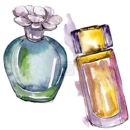 Foto de Ilustración de perfume dibujo moda glamour estilo acuarela aislado. Acuarela ropa accesorios set look moda vogue. Boceto de moda Aquarelle de fondo, textura - Imagen libre de derechos