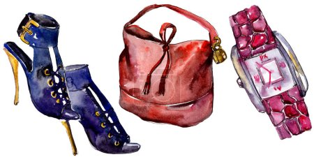 Photo for Shoes, watch and bag sketch fashion glamour illustration in a watercolor style isolated. Watercolour clothes accessories set trendy vogue outfit. Aquarelle fashion sketch for background, texture. - Royalty Free Image