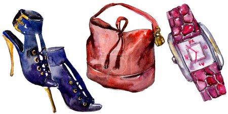 Foto de Zapatos, reloj y bolso boceto ilustración de glamour de la moda en un estilo acuarela aislado. Acuarela ropa accesorios set look moda vogue. Boceto de moda Aquarelle de fondo, textura - Imagen libre de derechos