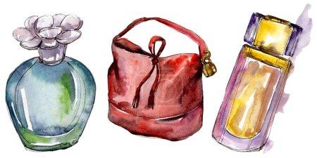 Foto de Perfumes y bolsa boceto ilustración de glamour de la moda en un estilo acuarela aislado. Acuarela ropa accesorios set look moda vogue. Boceto de moda Aquarelle de fondo, textura - Imagen libre de derechos