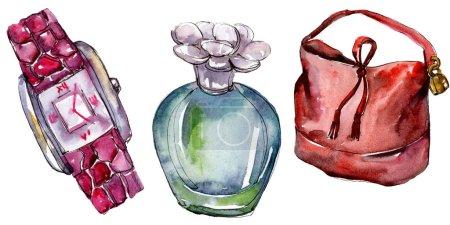 Foto de Perfume, reloj y bolso boceto ilustración de glamour de la moda en un estilo acuarela aislado. Acuarela ropa accesorios set look moda vogue. Boceto de moda Aquarelle de fondo, textura - Imagen libre de derechos