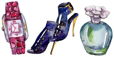 Foto de Perfume, reloj y zapatos boceto ilustración de glamour de la moda en un estilo acuarela aislado. Acuarela ropa accesorios set look moda vogue. Boceto de moda Aquarelle de fondo, textura - Imagen libre de derechos