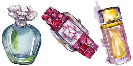 Photo pour Parfum et watch croquis fashion glamour illustration dans un style aquarelle isolé. Accessoires de vêtements aquarelle set tenue de mode vogue. Croquis de mode aquarelle pour le fond, texture - image libre de droit