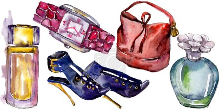 Photo for Shoes, watch, parfum and bag sketch fashion glamour illustration in a watercolor style isolated. Watercolour clothes accessories set trendy vogue outfit. Aquarelle sketch for background, texture. - Royalty Free Image
