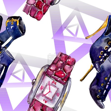 Photo for Parfume, watch, shoes and bag sketch fashion glamour illustration in a watercolor style. Watercolour clothes accessories set trendy vogue outfit. Aquarelle fashion sketch for seamless pattern. - Royalty Free Image