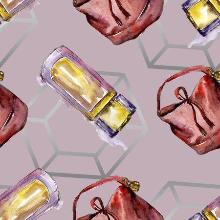 Foto de Perfume, reloj, zapatos y bolso boceto ilustración de glamour de la moda en un estilo acuarela. Acuarela ropa accesorios set look moda vogue. Boceto de moda Aquarelle de patrones sin fisuras - Imagen libre de derechos