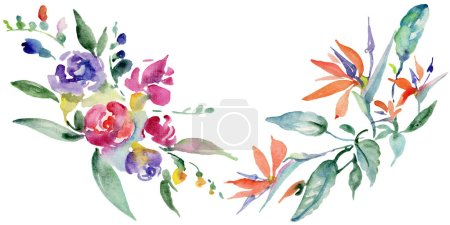 Photo for Bouquets floral botanical flower. Wild spring leaf wildflower isolated. Watercolor background illustration set. Watercolour drawing fashion aquarelle isolated. Isolated bouquet illustration element. - Royalty Free Image