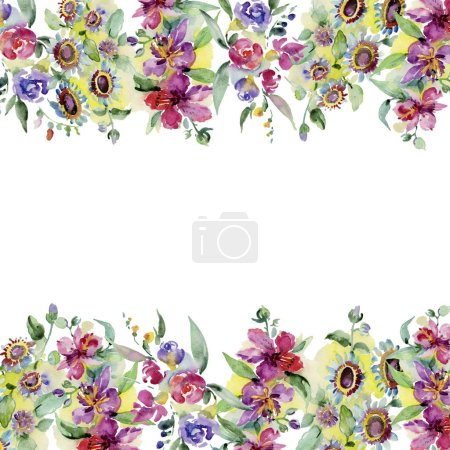 Photo for Bouquets floral botanical flower. Wild spring leaf wildflower isolated. Watercolor background illustration set. Watercolour drawing fashion aquarelle isolated. Frame border ornament square. - Royalty Free Image