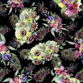 """Постер, картина, фотообои """"Цветочные букеты ботанические цветок. Дикие весны листьев изолированы. Акварель фон иллюстрации набора. Рисования акварелью моды акварель. Бесшовный фон узор. Обои для рабочего стола ткань печати текстуры."""""""