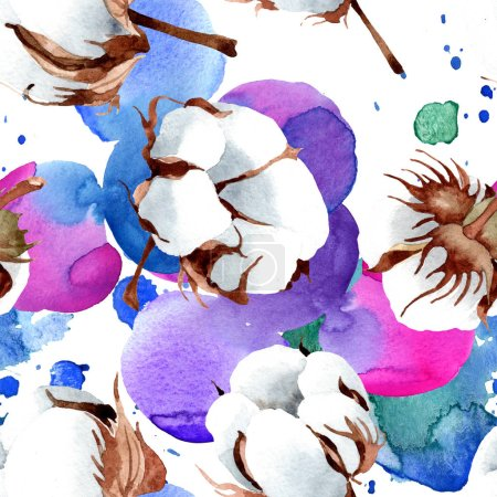Photo for Cotton floral botanical flower. Wild spring leaf isolated. Watercolor illustration set. Watercolour drawing fashion aquarelle isolated. Seamless background pattern. Fabric wallpaper print texture. - Royalty Free Image
