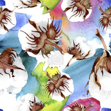 Flor botánica floral de algodón. Hoja de primavera salvaje aislada. Juego de ilustración en acuarela. Acuarela dibujo moda acuarela aislado. Patrón de fondo sin costuras. Textura de impresión de papel pintado de tela .
