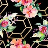 """Постер, картина, фотообои """"Красный, желтый и оранжевый цветочные Ботанический цветочные букеты. Акварель фон иллюстрации набора. Акварель Акварель и рисования. Бесшовный фон узор. Обои для рабочего стола ткань печати текстуры."""""""