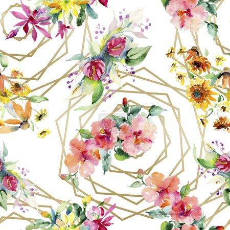 Foto de Ramos de flores botanical floral rojo, amarillo y naranja. Conjunto de ilustración de fondo de acuarela. Aquarelle Dibujo Acuarela. Patrón de fondo transparente. Textura impresión de papel pintado de tela. - Imagen libre de derechos