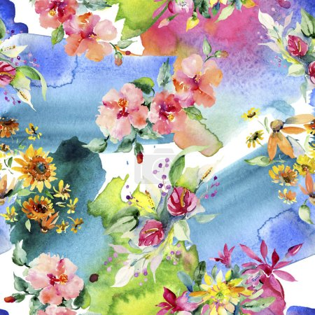 Photo for Red, yellow and orange floral botanical flower bouquets. Watercolor background illustration set. Watercolour drawing aquarelle. Seamless background pattern. Fabric wallpaper print texture. - Royalty Free Image
